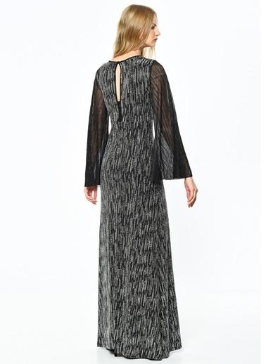 Koton Kolları Şifon Detaylı Abiye Elbise Siyah